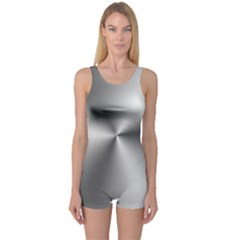 Shiny Metallic Silver One Piece Boyleg Swimsuit