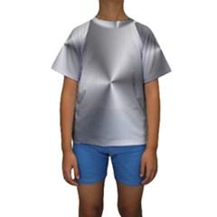 Shiny Metallic Silver Kid s Short Sleeve Swimwear