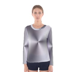 Shiny Metallic Silver Women s Long Sleeve Tee