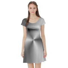 Shiny Metallic Silver Short Sleeve Skater Dress