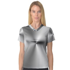 Shiny Metallic Silver Women s V-Neck Sport Mesh Tee