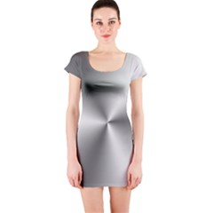 Shiny Metallic Silver Short Sleeve Bodycon Dress