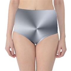 Shiny Metallic Silver High-Waist Bikini Bottoms