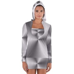 Shiny Metallic Silver Women s Long Sleeve Hooded T-shirt
