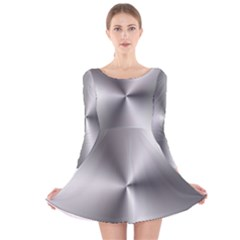 Shiny Metallic Silver Long Sleeve Velvet Skater Dress
