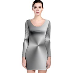 Shiny Metallic Silver Long Sleeve Velvet Bodycon Dress