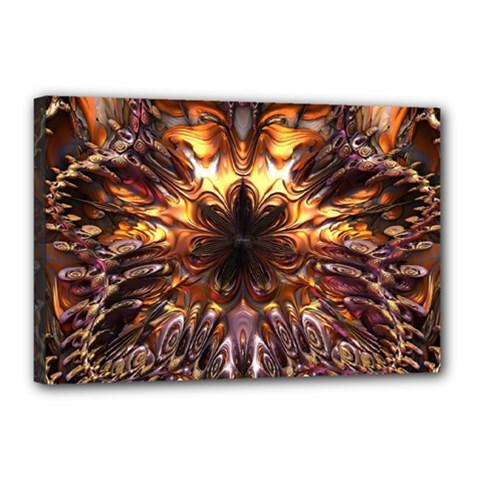 Golden Metallic Abstract Flower Canvas 18  x 12