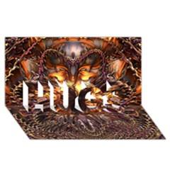 Golden Metallic Abstract Flower Hugs 3d Greeting Card (8x4)