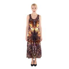Golden Metallic Abstract Flower Sleeveless Maxi Dress