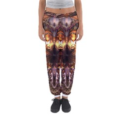 Golden Metallic Abstract Flower Women s Jogger Sweatpants