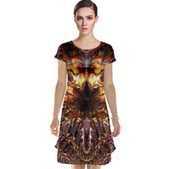 Golden Metallic Abstract Flower Cap Sleeve Nightdress