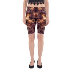 Golden Metallic Abstract Flower Yoga Cropped Leggings