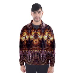 Golden Metallic Abstract Flower Wind Breaker (men)