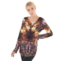Golden Metallic Abstract Flower Women s Tie Up Tee