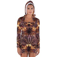Golden Metallic Abstract Flower Women s Long Sleeve Hooded T Shirt