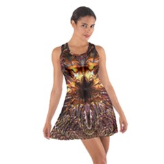 Golden Metallic Abstract Flower Racerback Dresses