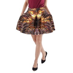 Golden Metallic Abstract Flower A-Line Pocket Skirt