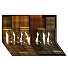 Metallic Geometric Abstract Urban Industrial Futuristic Modern Digital Art BEST SIS 3D Greeting Card (8x4)