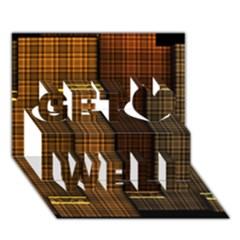 Metallic Geometric Abstract Urban Industrial Futuristic Modern Digital Art Get Well 3D Greeting Card (7x5)