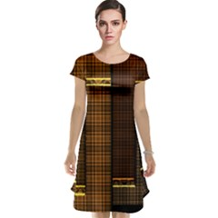 Metallic Geometric Abstract Urban Industrial Futuristic Modern Digital Art Cap Sleeve Nightdress