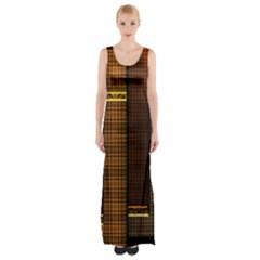 Metallic Geometric Abstract Urban Industrial Futuristic Modern Digital Art Maxi Thigh Split Dress