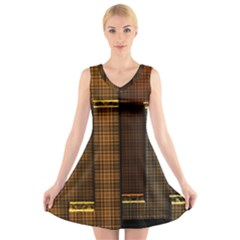 Metallic Geometric Abstract Urban Industrial Futuristic Modern Digital Art V-Neck Sleeveless Skater Dress