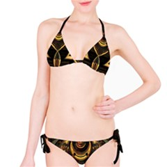 Golden Metallic Geometric Abstract Modern Art Bikini Set