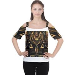 Golden Metallic Geometric Abstract Modern Art Women s Cutout Shoulder Tee