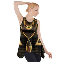 Golden Metallic Geometric Abstract Modern Art Side Drop Tank Tunic