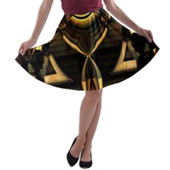 Golden Metallic Geometric Abstract Modern Art A Line Skater Skirt