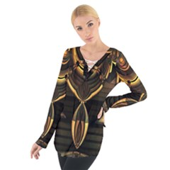 Golden Metallic Geometric Abstract Modern Art Women s Tie Up Tee