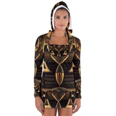 Golden Metallic Geometric Abstract Modern Art Women s Long Sleeve Hooded T Shirt
