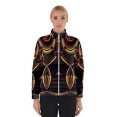 Golden Metallic Geometric Abstract Modern Art Winter Jacket