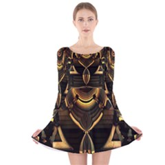 Golden Metallic Geometric Abstract Modern Art Long Sleeve Velvet Skater Dress