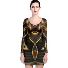 Golden Metallic Geometric Abstract Modern Art Long Sleeve Velvet Bodycon Dress