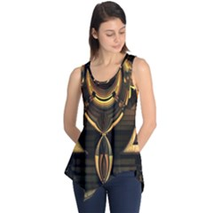 Golden Metallic Geometric Abstract Modern Art Sleeveless Tunic