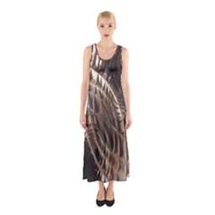 Metallic Copper Abstract Modern Art Sleeveless Maxi Dress