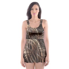 Metallic Copper Abstract Modern Art Skater Dress Swimsuit