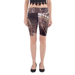 Metallic Copper Abstract Modern Art Yoga Cropped Leggings