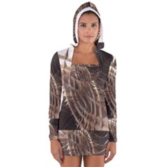 Metallic Copper Abstract Modern Art Women s Long Sleeve Hooded T Shirt