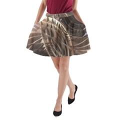 Metallic Copper Abstract Modern Art A Line Pocket Skirt