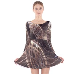 Metallic Copper Abstract Modern Art Long Sleeve Velvet Skater Dress