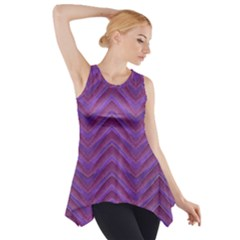 Grunge Chevron Style Print Side Drop Tank Tunic