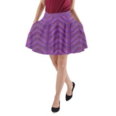 Grunge Chevron Style Print A-Line Pocket Skirt