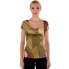 Urban Jungle Tower Brown Red Women s V-Neck Cap Sleeve Top