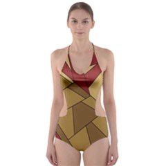 Urban Jungle Tower Brown Red Cut-Out One Piece Swimsuit