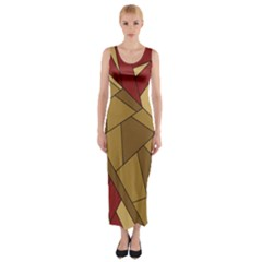 Urban Jungle Tower Brown Red Fitted Maxi Dress
