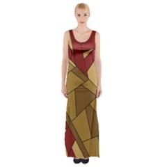 Urban Jungle Tower Brown Red Maxi Thigh Split Dress