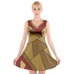 Urban Jungle Tower Brown Red V-Neck Sleeveless Dress