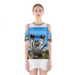 2 Australian Shepherds Cutout Shoulder Dress